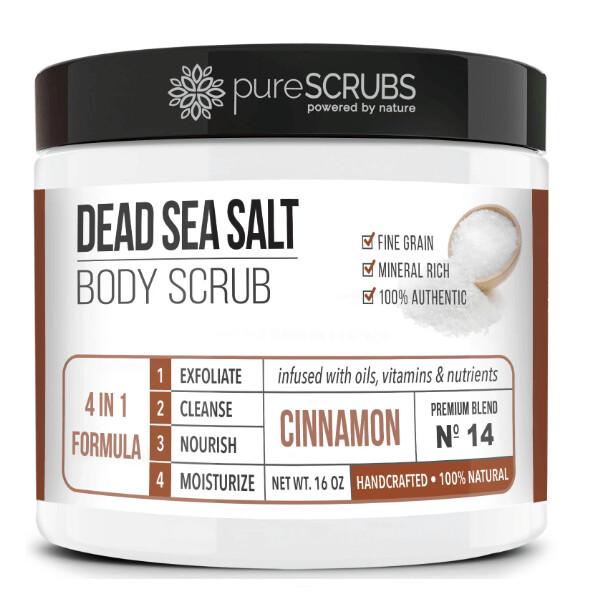 pureSCRUBS Dead Sea Salt Organic Body Scrub, Cinnamon, 16 Ounce