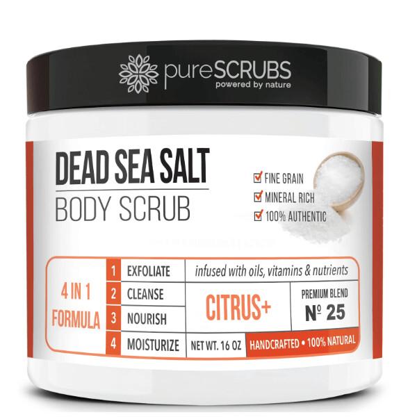 pureSCRUBS Dead Sea Salt Organic Body Scrub, Citrus, 16 Ounce