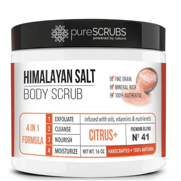 pureSCRUBS Premium Pink Himalayan Salt Body Scrub, Citrus, 16 Ounce
