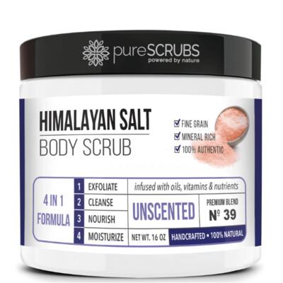 pureSCRUBS Premium Pink Himalayan Salt Body Scrub, Unscented, 16 Ounce