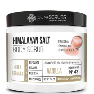 pureSCRUBS Premium Pink Himalayan Salt Body Scrub, Vanilla, 16 Ounce
