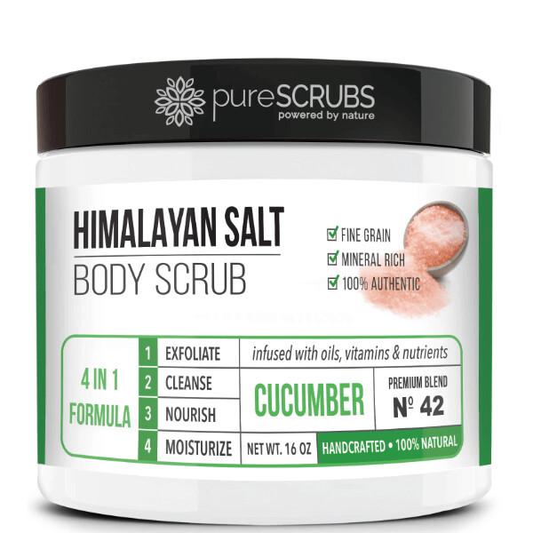 pureSCRUBS Premium Pink Himalayan Salt Body Scrub, Cucumber, 16 Ounce