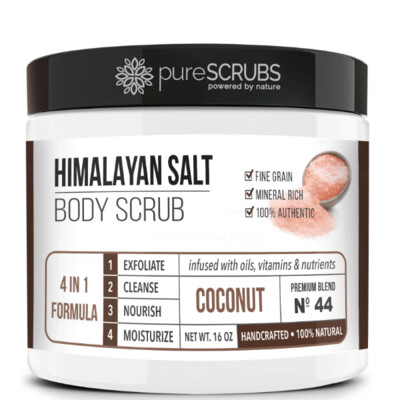 pureSCRUBS Premium Pink Himalayan Salt Body Scrub, Coconut, 16 Ounce