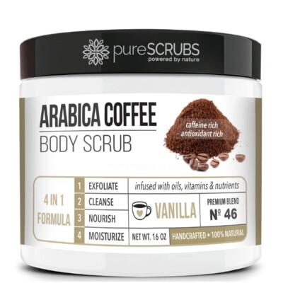 pureSCRUBS Premium Organic Arabica Coffee Body Scrub, Vanilla, 16 Ounce