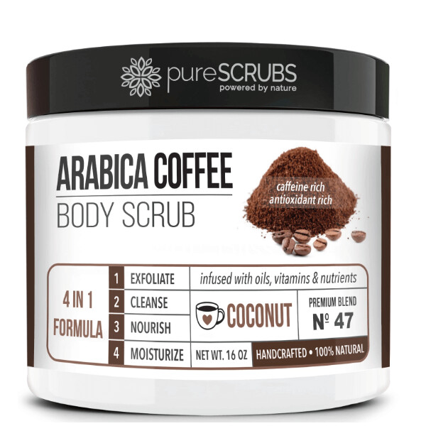 pureSCRUBS Premium Organic Arabica Coffee Body Scrub, Coconut, 16 Ounce