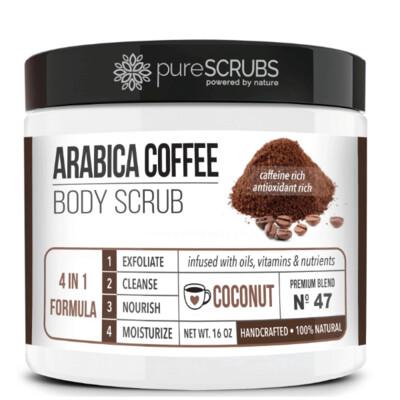 pureSCRUBS Premium Organic Arabica Coffee Body Scrub, Coconut, 16 Ounce