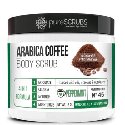 pureSCRUBS Premium Organic Arabica Coffee Body Scrub, Peppermint, 16 Ounce