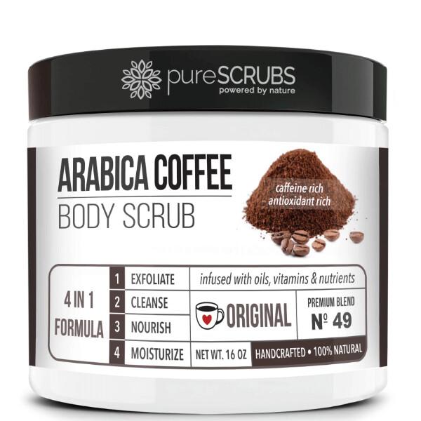 pureSCRUBS Premium Organic Arabica Coffee Body Scrub, Original, 16 Ounce