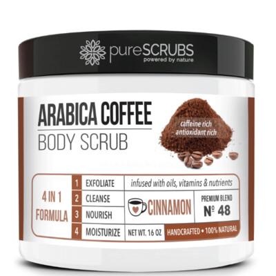 pureSCRUBS Premium Organic Arabica Coffee Body Scrub, Cinnamon, 16 Ounce