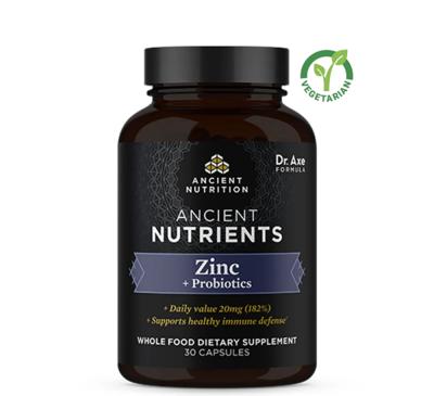 Ancient Nutrients Zinc + Probiotics Whole Food Supplement, 30 Capsules