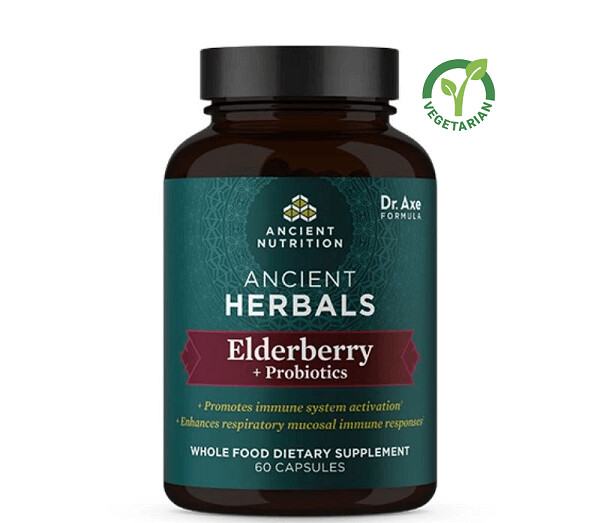 Ancient Herbals Elderberry + Probiotics Whole Food Supplement, 60 Capsules