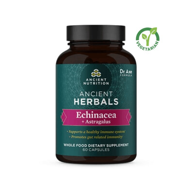 Ancient Herbals Echinacea + Astragalus Whole Food Supplement, 60 Capsules