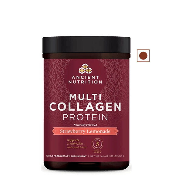 Ancient Nutrition Multi Collagen Protein Powder, Strawberry Lemonade, 18.9 Ounce