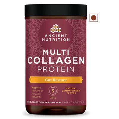 Ancient Nutrition Multi Collagen Protein Powder, Gut Restore, Lemon Ginger Flavor, 10.3 Ounce