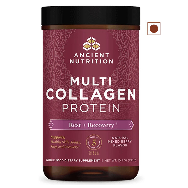 Ancient Nutrition Multi Collagen Protein Powder, Rest & Recovery, Mixed Berry, 10.5 Ounce