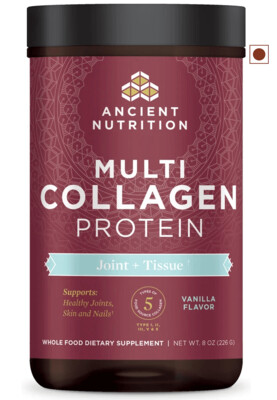 Ancient Nutrition Multi Collagen Protein Powder, Joint and Tissue, Vanilla Flavor, 8 Ounce