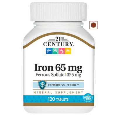 21st Century Iron 65 mg Ferrous Sulfate 325 mg, 120 Tablets