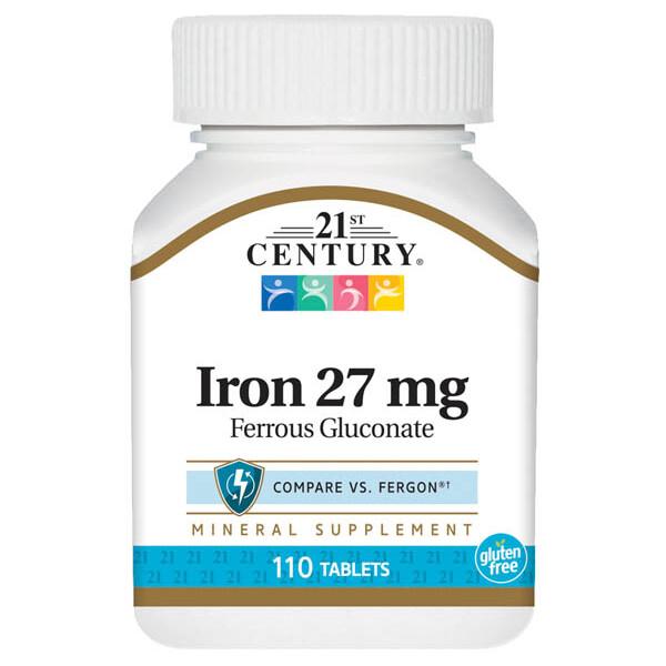 21st Century Iron 27 Mg Ferrous Gluconate, 110 Tablets
