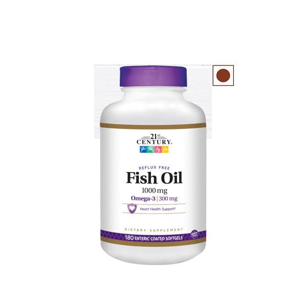 21st Century Reflux Free Fish Oil 1000 mg, 180 Softgels