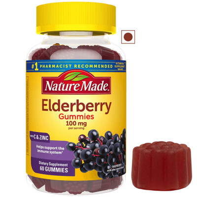 Nature Made Elderberry 100mg Vitamin C and Zinc, 60 Gummies