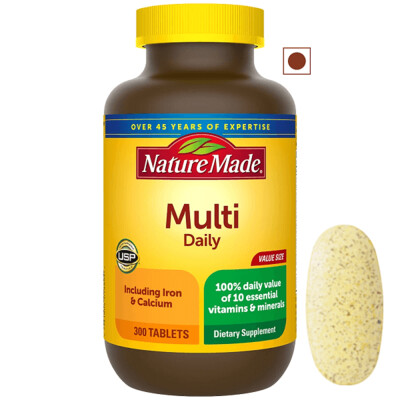 Nature Made Multi Daily Tablets with Iron, 300 Tablets