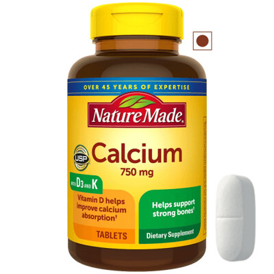 Nature Made Calcium 750 mg with Vitamins D and K3, 100 Tablets