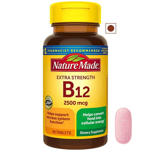 Nature Made Extra Strength Vitamin B12 2500 mcg, 60 Tablets