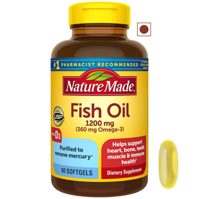 Nature Made® Fish Oil 1,200 mg with Vitamin D 25 mcg (1,000 IU), 90 Softgels