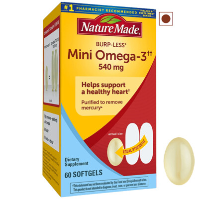 Nature Made Burp-Less Mini Omega-3 540 mg, 60 Softgels