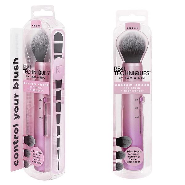 Real Techniques Custom Slide Makeup Brush Cheek Kit For Blush, Bronzer, and Highlighter, 1 Count