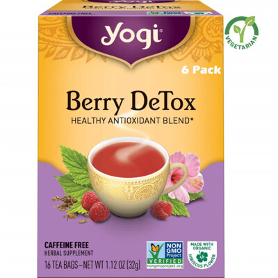 Yogi Berry Detox Tea Healthy Antioxidant Blend, 16 Tea Bags/box, Pack of 6