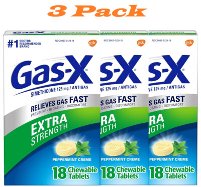 Gas-X Extra Strength Peppermint Chewable Tablet for Fast Gas Relief, 18 Count, 3 Pack