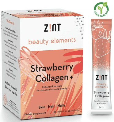 Zint Sugar Free Strawberry Collagen for Skin Moisture and Beauty, 30 (5 grams) Packets