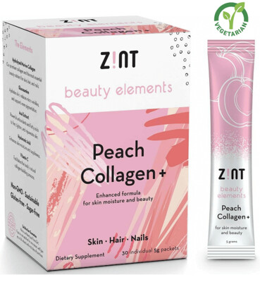 Zint Sugar Free Peach Collagen for Skin Moisture and Beauty, 30 (5 grams) Packets