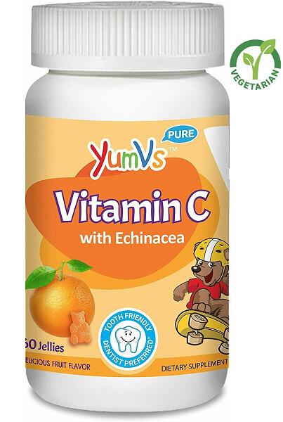 YUM-V's Vitamin C Gummies for Kids, Chewable, Orange Flavor, 60 Jellies
