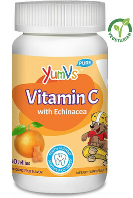 YUM-V's Vitamin C Gummies for Kids, Chewable, Orange Flavor, 60 Jellies