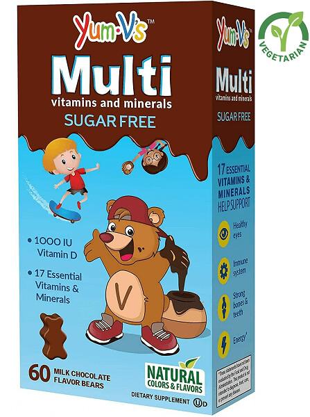 YumVs Sugar Free MultiVitamin Chewables for Kids, Milk Chocolate Flavor, 60 Gummies