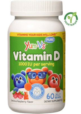 YUM-Vs Vitamin D 1000 IU Kids Chewable Gummies, Yummy Berry Flavor, 60 Jellies