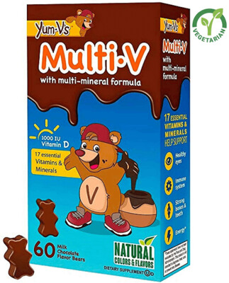 Yum-Vs MultiVitamins Chewables for Kids, Milk Chocolate, 60 Gummies