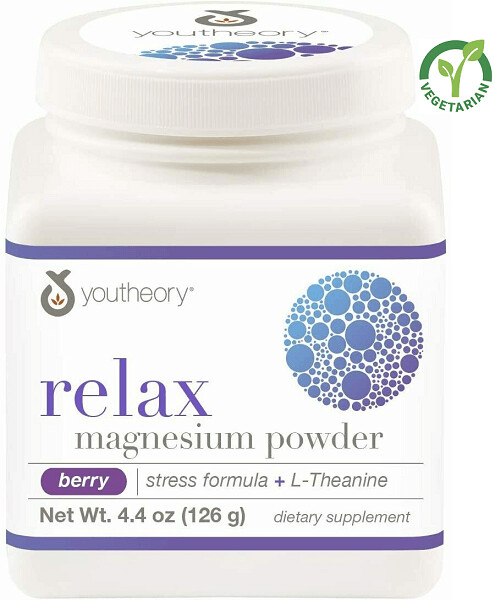 Youtheory Relax Magnesium Powder, Berry Flavor, 4.4 Ounce