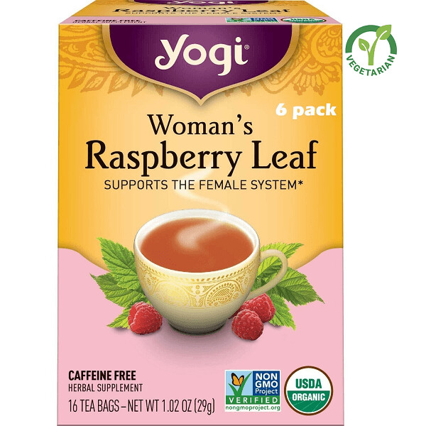 Yogi Womans Raspberry Leaf Herbal Tea, Supports the Female System, 16 Bags/Box, Pack of 6