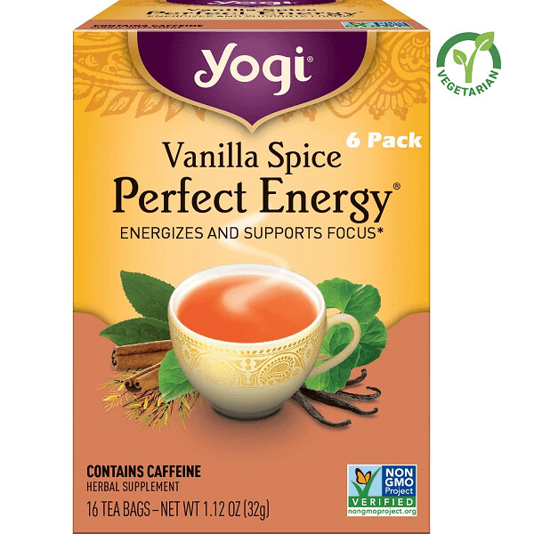 Yogi Vanilla Spice Perfect Energy Herbal Tea, 16 Bags/box, Pack of 6