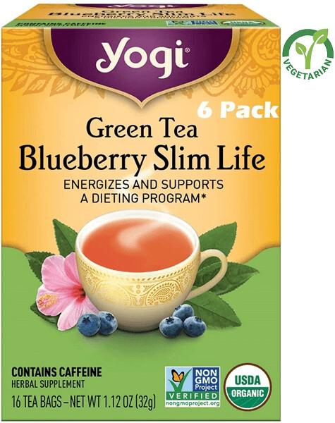 Yogi Green Tea Blueberry Slim Life, 16 Bags/box, Pack of 6