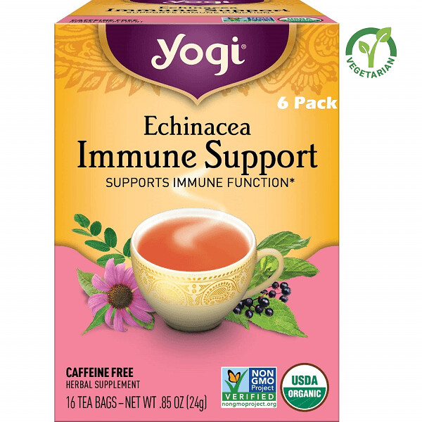 Yogi Echinacea Immune Support Tea, Supports Immune Function, 16 Bags/box, Pack of 6