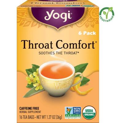 Yogi Tea Throat Comfort Herbal Tea, Soothes the Throat, 16 Bags/box, Pack of 6