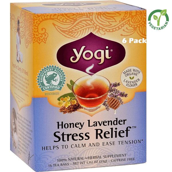 Yogi Herbal Stress Relief Tea, Honey Lavender, 16 Bags/box, Pack of 6