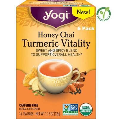 Yogi Honey Chai Turmeric Tea Vitality Sweet and Spicy Blend, 16 Bags/box, Pack of 6