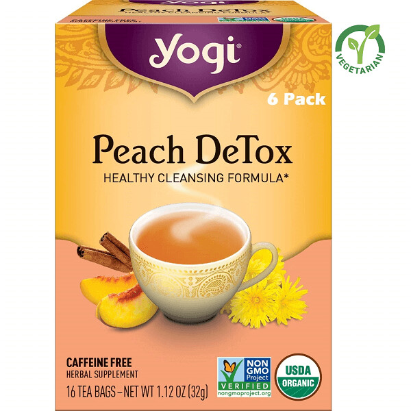 Yogi Peach Detox Healthy Cleansing Formula Herbal Tea, 16 Bags/box, Pack of 6