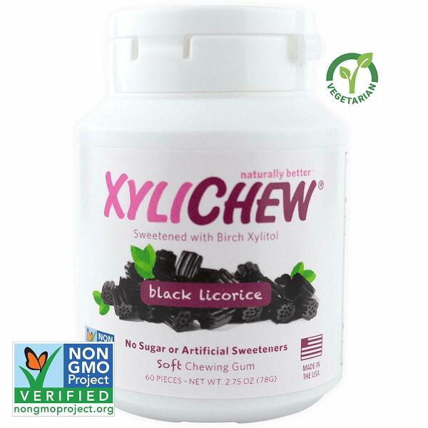 Xylichew Gum for Fresh Breath, Licorice, 60 Pieces