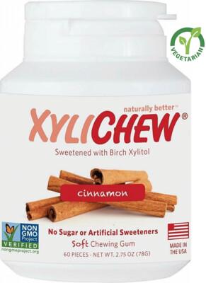 Xylichew Gum for Fresh Breath, Cinnamon, 60 Pieces